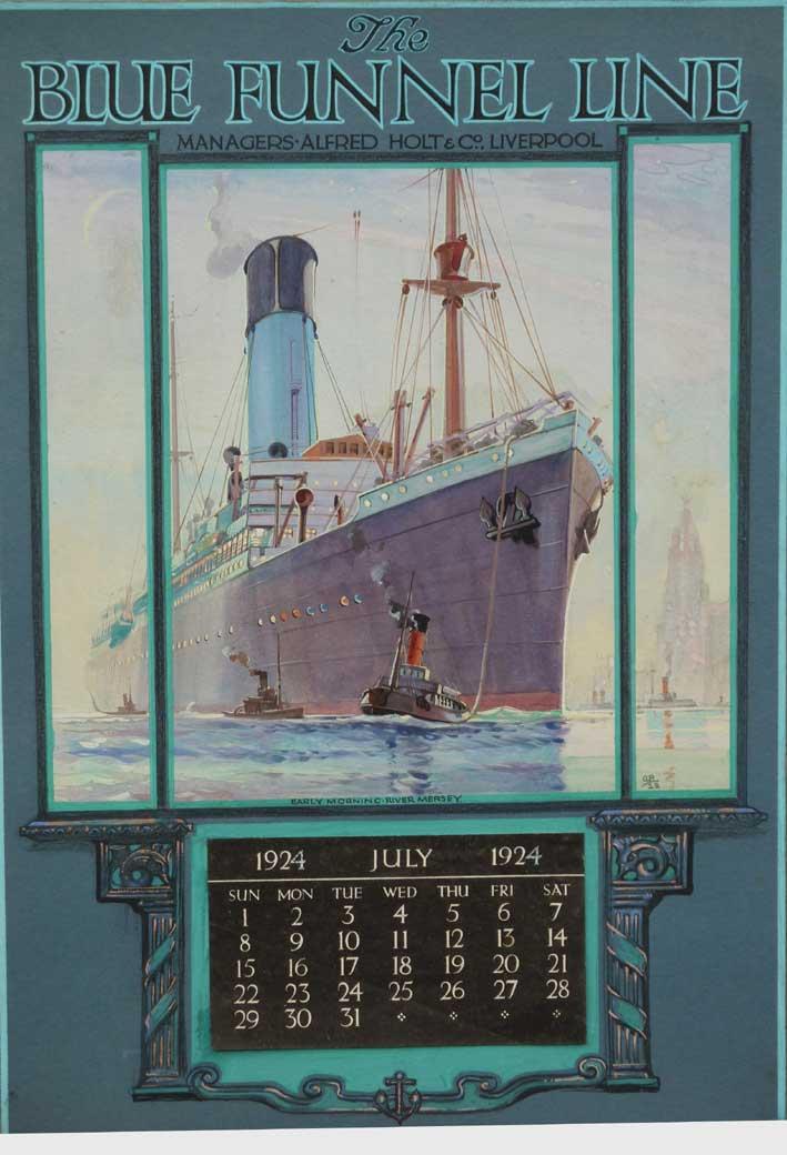 Blue Funnel Line Cargo Ship Calendar