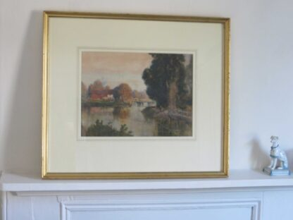 On the Kennet, watercolour river scene by Henry F Waring