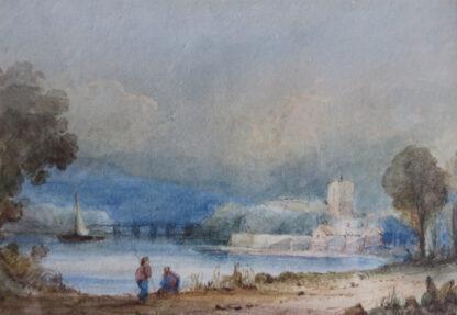 James Robertson watercolour of figures at a Lake