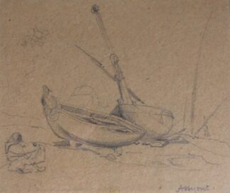 Edward William Cooke, pencil drawing of figures and boats