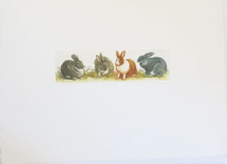 Limited Edition Etching & Aquatint of rabbits by Valerie Christmas